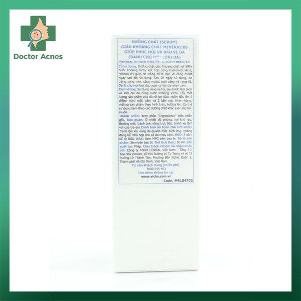 Dưỡng chất VICHY Mineral 89 giúp phục hồi và bảo vệ da