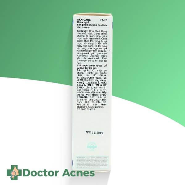 Kem giảm nhờn mụn aknicare fast cream gel 30ml (1)