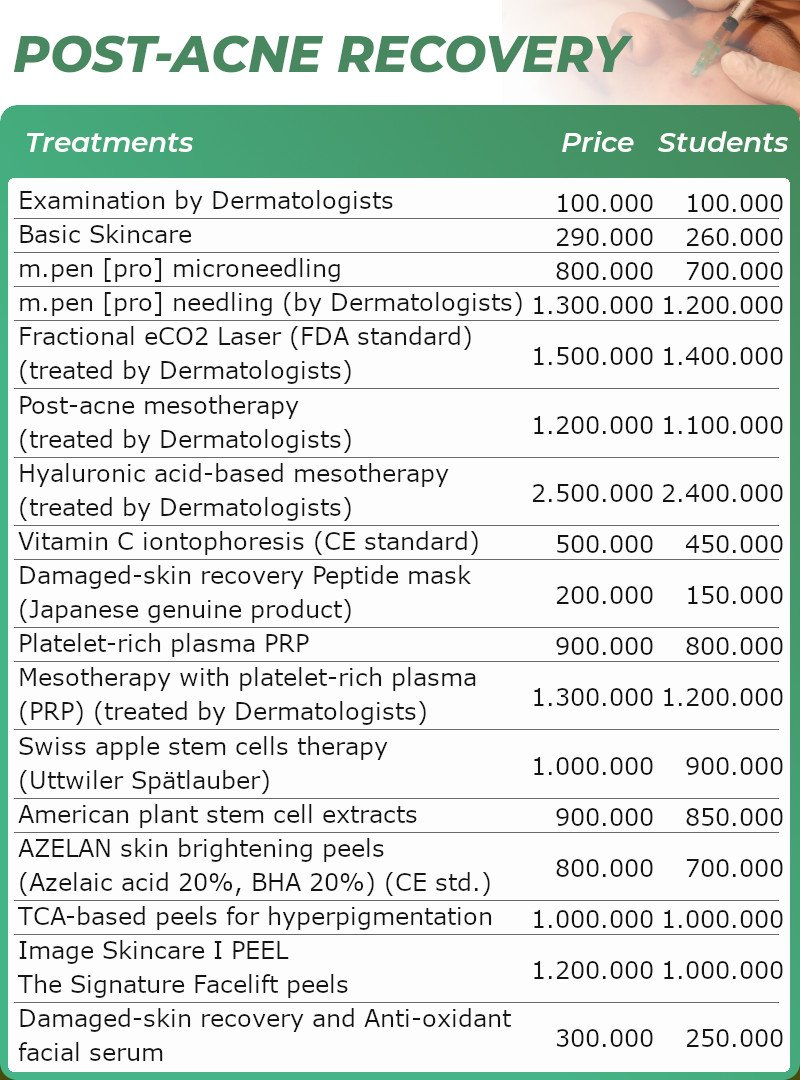 Acne skin recovery pricing